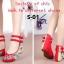รองเท้าส้นเตี้ย รัดข้อ งานปัก (สีแดง ) thumbnail 4