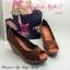 รองเท้าส้นเตารีดส้นโอ่ง เปิดหัวเล็กน้อย (สีน้ำตาล ) thumbnail 4