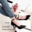 รองเท้าคัทชูส้นสูง รัดข้อเท้า หุ้มหัวสีทอง หรูหรา (สีดำ ) thumbnail 4