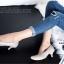 รองเท้าคัทชู ส้นสูง หัวแหลม ซับในกำมะหยี่นิ่ม (สีเทา ) thumbnail 4