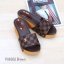 รองเท้าส้นเตารีดเปิดส้นสีน้ำตาล สไตล์ LV (สีน้ำตาล ) thumbnail 4