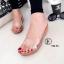 รองเท้าส้นเตารีดเปิดส้นสีแทน สไตล์ลำลอง พียูใสนิ่มไม่บาดเท้า (สีแทน )
