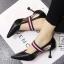 รองเท้าคัทชูส้นสูงสีดำ หัวแหลม เว้าข้าง (สีดำ ) thumbnail 1