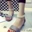 รองเท้าส้นแบน ปิดส้น รัดข้อเท้า สายคาดไข่มุก (สีเทา ) thumbnail 1