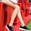 รองเท้าผ้าใบเสริมส้นสีดำ ผ้าตาข่าย น้ำหนักเบา (สีดำ ) thumbnail 1