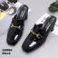 รองเท้าคัทชูเปิดส้นสีดำ สไตล์สวม หนังแก้ว (สีดำ )