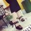รองเท้าส้นเข็มสีดำ หนังนิ่ม ต่ออะไหล่ทองแบบสวมคาด 2 ระดับ (สีดำ )
