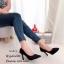 รองเท้าคัทชูส้นสูง หัวแหลม หนังนิ่ม ฉลุลาย (สีดำ ) thumbnail 4
