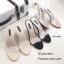 รองเท้าส้นสูงเปิดส้นสีชมพู พียูใสนิ่ม ส้นแก้ว (สีชมพู ) thumbnail 3