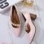 รองเท้าคัทชูส้นตันสีชมพู หัวแหลม สไตล์ ZARA (สีชมพู ) thumbnail 3
