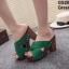 รองเท้าส้นตันเปิดส้นสีเขียว สายคาดไขว้ (สีเขียว ) thumbnail 4