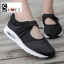 รองเท้าผ้าใบเสริมส้นสีดำ ผ้ายืดและผ้าตาข่าย สายรัดเมจิกเทป (สีดำ ) thumbnail 2
