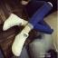 รองเท้าผ้าใบ หุ้มข้อ แบบเชือก ฟรุ้งฟร้ง (สีขาว ) thumbnail 5