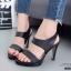 รองเท้าส้นเข็มรัดส้นสีดำ หนังนิ่ม สายคาดสองระดับ (สีดำ ) thumbnail 4