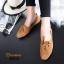 รองเท้าคัทชูส้นเตี้ย แบบผูกเชือก สักหราดนิ่ม ดูดีมีสไตล์ (สีน้ำตาล ) thumbnail 2