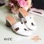 รองเท้าส้นสูง ทรงสวม ส้นปั้มลายไม้ หนังนิ่ม (สีขาว ) thumbnail 3