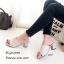 รองเท้าส้นตันสีครีม แบบสวม แต่งอะไหล่โลหะทอง (สีครีม ) thumbnail 2
