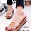 รองเท้าแตะเปิดส้น สไตล์ลำลอง ส้นเตารีด แต่งโลโกCC (สีน้ำตาล ) thumbnail 1