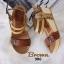 รองเท้าส้นเตารีด รัดส้น สายคาดตอกหมุด สไตล์วินเทจ (สีน้ำตาล ) thumbnail 4