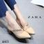 รองเท้าคัทชูส้นตันสีครีม หัวแหลม สไตล์ ZARA (สีครีม ) thumbnail 2
