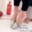 รองเท้าส้นเตี้ย หัวแหลม เปิดส้น ลายหนังสาน (สีเทา ) thumbnail 4