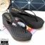 รองเท้าส้นเตารีดสีดำ แบบคีบ พื้นิ่ม (สีดำ )