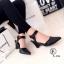 รองเท้าส้นเตารีด แบบรัดส้น หัวแหลม (สีดำ ) thumbnail 2