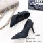 รองเท้าคัทชูส้นสูง หัวแหลม หนังนิ่ม ฉลุลาย (สีดำ ) thumbnail 2