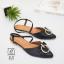 รองเท้าส้นเตี้ยหัวแหลมสีดำ รัดส้น ดีเทลอะไหล่ห่วงทองด้านหน้า (สีดำ ) thumbnail 3