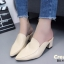 รองเท้าส้นตันหัวแหลมสีครีม เปิดส้น หนังนิ่ม น้ำหนักเบา (สีครีม ) thumbnail 3