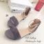 รองเท้าส้นแบน ปิดส้น รัดข้อเท้า สายคาดไข่มุก (สีเทา ) thumbnail 4