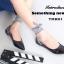 รองเท้าคัทชูส้นแบน สไตล์MiuMiu หนังแก้วนิ่ม แต่งผ้าพันขา (สีดำ ) thumbnail 2