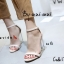 รองเท้าส้นสูงรัดส้นสีครีม ส้นแก้ว สไตล์เกาหลี (สีครีม ) thumbnail 2