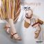 รองเท้าส้นตันรัดส้นสีแทน ทรง Maxi สายคาดยางยืด (สีแทน ) thumbnail 3