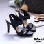 รองเท้าส้นเข็มรัดส้นสีดำ หนังนิ่ม สายคาดสองระดับ (สีดำ ) thumbnail 3
