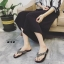 รองเท้าแตะแฟชั่นสีเงิน แบบคีบ หนังแก้ว (สีเงิน )