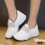 รองเท้าผ้าใบแฟชั่นสีขาว แต่งเพชร สไตล์เกาหลี (สีขาว ) thumbnail 4