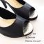 รองเท้าคัทชูส้นสูง หนังกลิตเตอร์ เปิดหน้าเท้า ซับในกำมะหยี่นุ่ม (สีดำ ) thumbnail 2