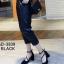 รองเท้าคัทชูส้นสูง รัดข้อ ทรงสุภาพ (สีดำ )