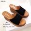 รองเท้าส้นเตารีดเปิดส้นสีดำ ดีเทลหนังหยักซ้อน 3 ชั้น (สีดำ ) thumbnail 2