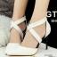 รองเท้าคัทชูส้นสูง หัวแหลม สายไขว้ (สีขาว ) thumbnail 2