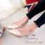 รองเท้าคัทชู ส้นสูง หัวแหลม เย็บหนังซ้อน (สีทอง ) thumbnail 4