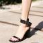 รองเท้าส้นตันรัดข้อสีดำ สายรัดข้อตอกตาไก่ (สีดำ ) thumbnail 5
