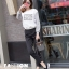 รองเท้าผ้าใบแฟชั่นสีดำ แต่งเพชร สไตล์เกาหลี (สีดำ ) thumbnail 2