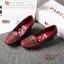 รองเท้าคัทชูส้นเตารีด หัวตัด หนังนิ่ม เรียบหรูดูดี (สีแดงเลือดหมู ) thumbnail 6