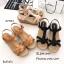 รองเท้าส้นเตารีดรัดส้นสีครีม ดีไซน์สวมคาดหน้า สายรัดข้อตะขอเกี่ยว (สีครีม ) thumbnail 3