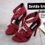 รองเท้าส้นสูง ปิดส้น รัดข้อเท้า แต่งซิปหลัง (สีแดง ) thumbnail 2