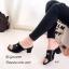 รองเท้าส้นตันสีดำ แบบสวม แต่งอะไหล่โลหะทอง (สีดำ ) thumbnail 2
