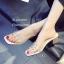 รองเท้าส้นตันสีครีม พียูใสไม่บาดเท้า แต่งเพชร (สีครีม ) thumbnail 5