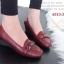 รองเท้าคัทชูส้นเตารีด หัวตัด หนังนิ่ม เรียบหรูดูดี (สีแดงเลือดหมู ) thumbnail 5